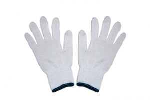 White knitted cotton gloves